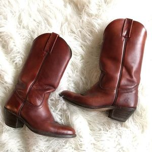 Frye burnt brown leather cowboy boots